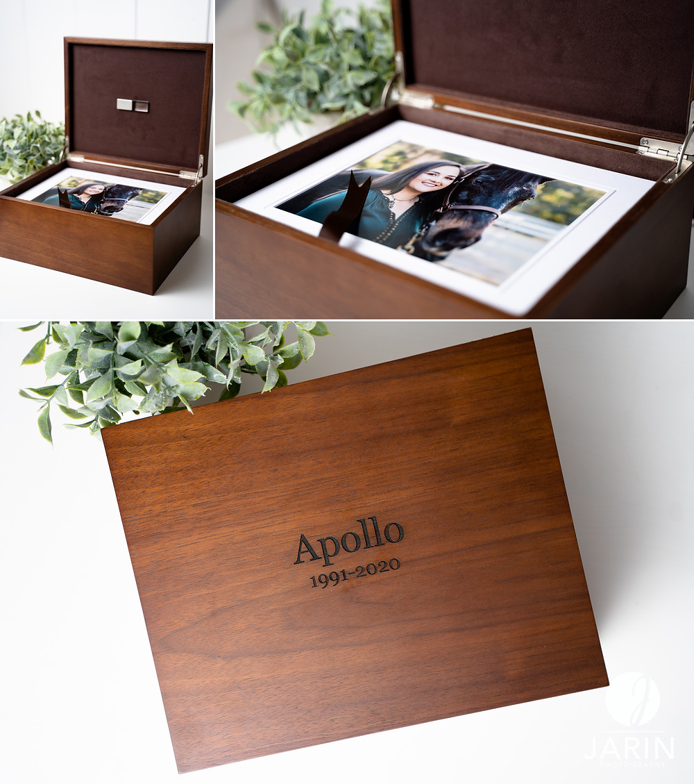 Wooden photo box with horse and rider portraits inside.