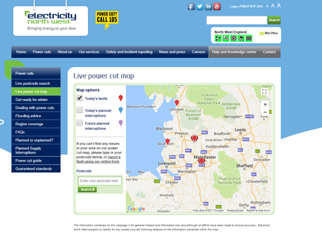 Power Cut Map for the North West