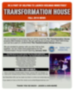 Transformation House Newsletter Fall 201