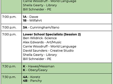 Virtual Back-to-School Night Schedule