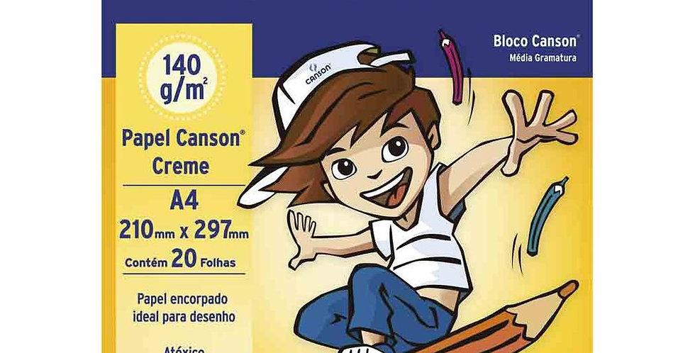 BLOCO DESENHO A4 140G 20FLS CREME CANSON