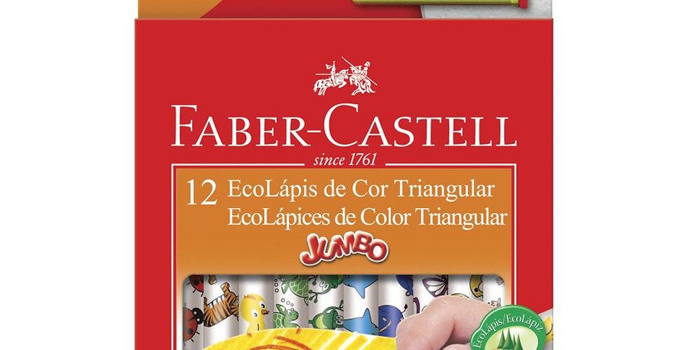 Lápis de Cor, Faber-Castell, EcoLápis Triangular Jumbo + Apontador com Depósito