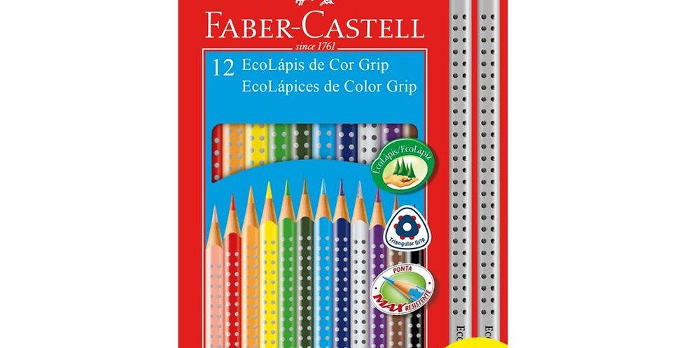 Lápis de Cor EcoLápis Color Grip 12 Cores + 2 Ecolápis Grafite , Faber-Castell