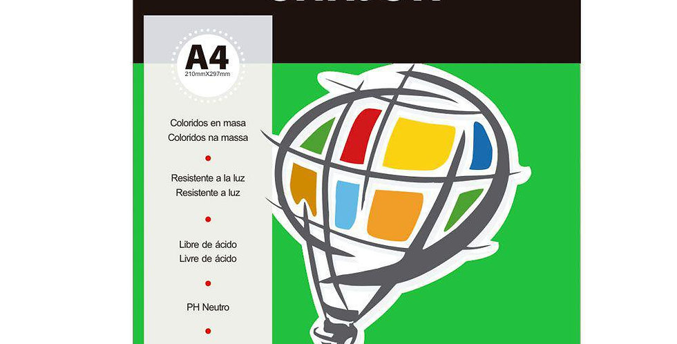 Papel A4 Canson Color Plus 180G Verde Claro 10 Folhas