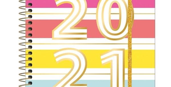 Agenda Espiral Planner 2021 Benice Tilibra Quadrado Colorido