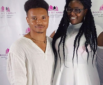 Author AmberElizabeth Addison-Scott and Musician Omari Henry at the First Sip and Read