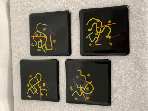 Black Abstract Fused Coasters, Set of 4