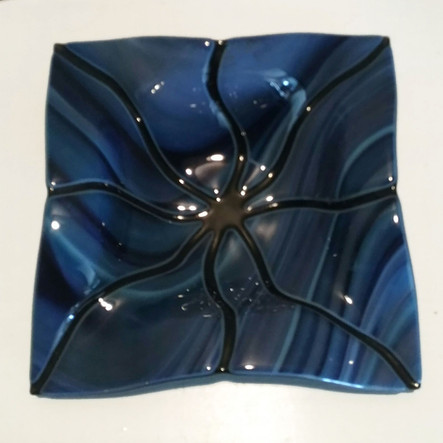 "10"" Black/Blue Fluted Bowl"