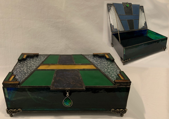 Stained Glass Art Deco Keepsake Box