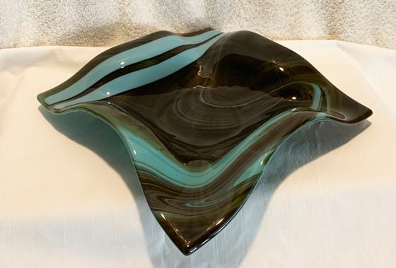 """10"""" Green/Aqua Fluted Bowl"""