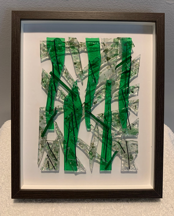 Framed Fused Glass (Green)