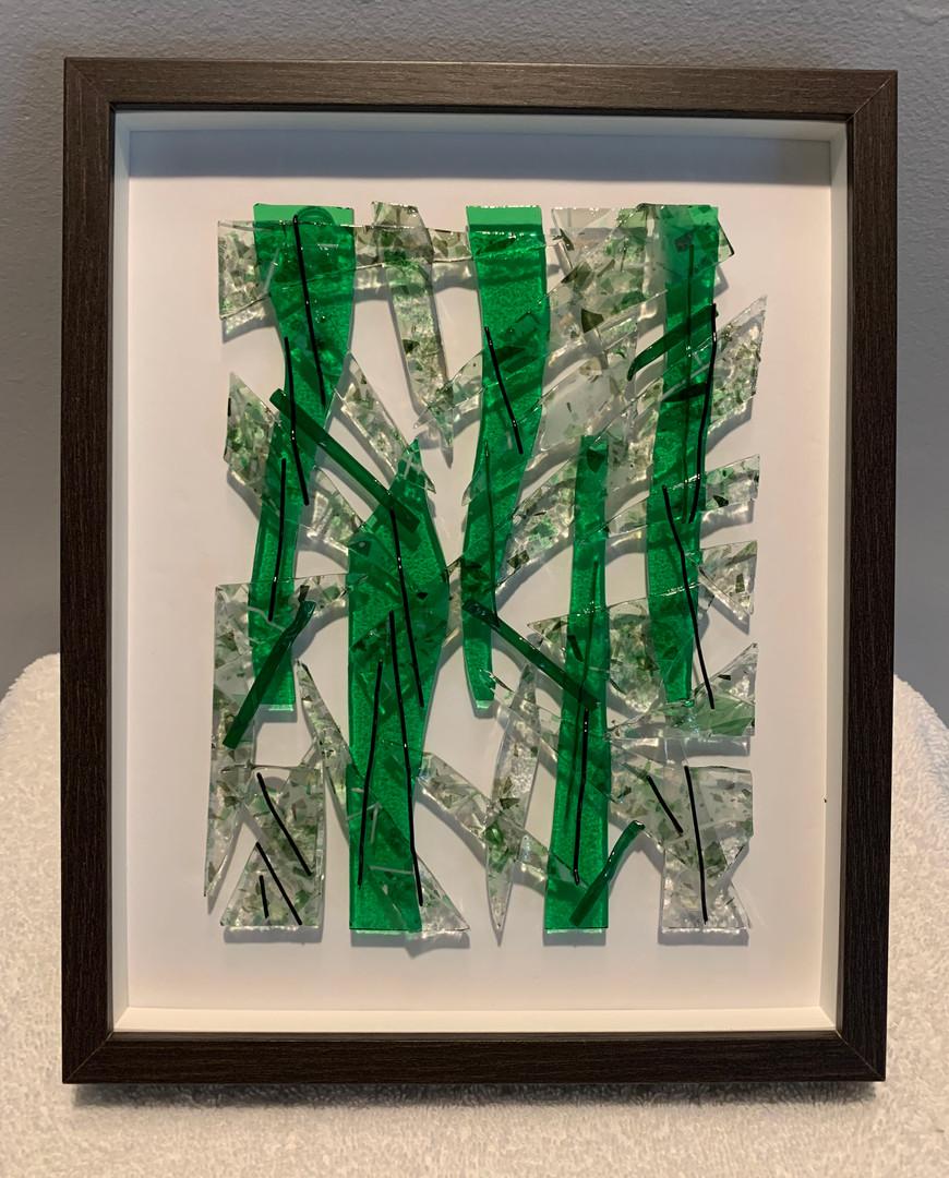 Framed Fused Glass (Green)