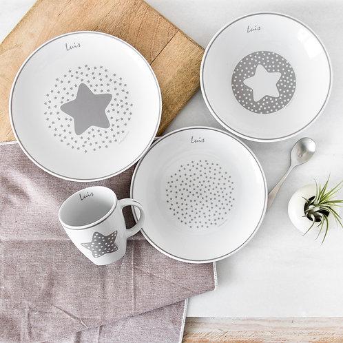 Vajilla Estrella 4 piezas -Gris