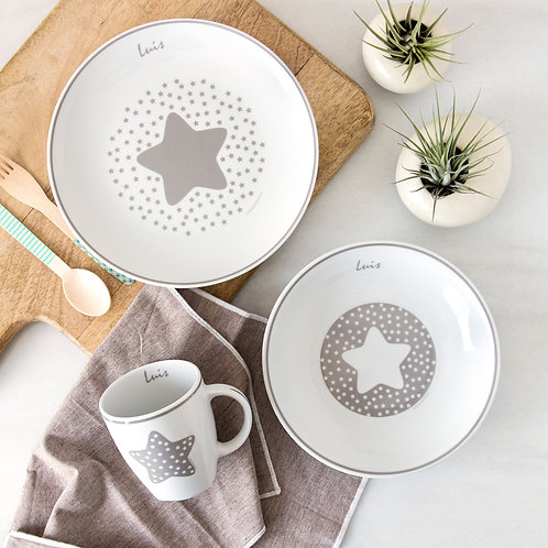 Vajilla Estrella 3 piezas -Gris