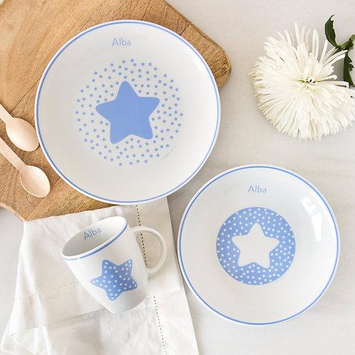 Vajilla Estrella 3 piezas -Azul