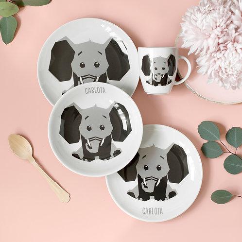 Vajilla Elefante 4 piezas - Gris