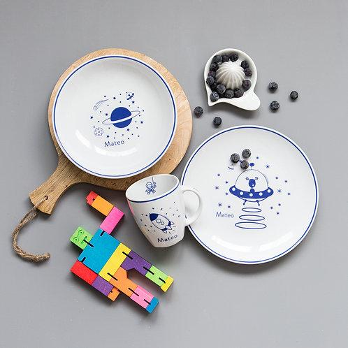 Vajilla Galaxia 3 piezas -Azul