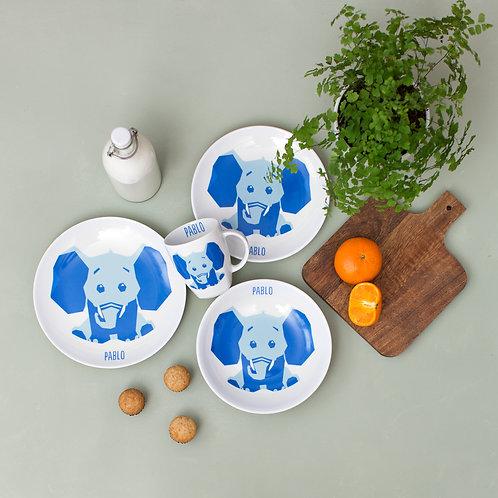 Vajilla Elefante 4 piezas - Azul