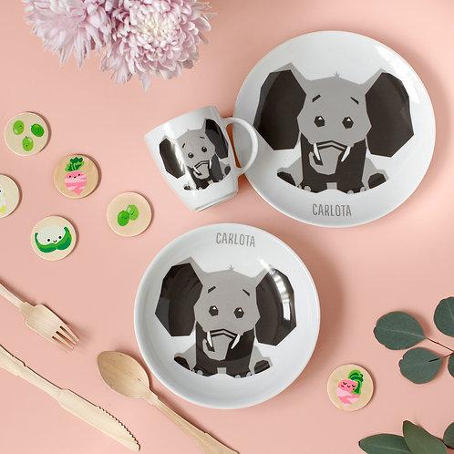 Vajilla Elefante 3 piezas - Gris