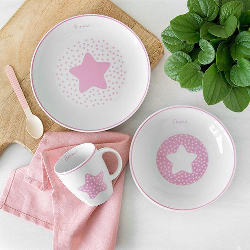 Vajilla Estrella 3 piezas -Rosa