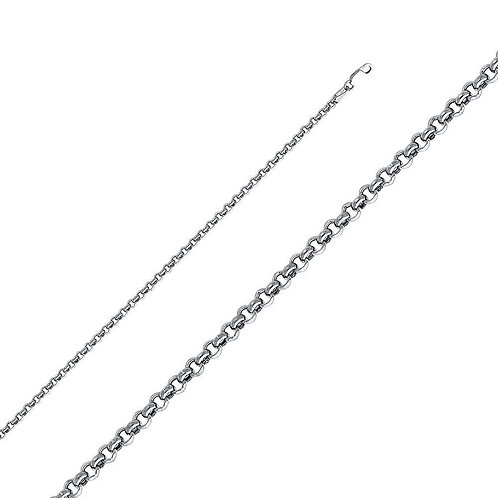 14k White Gold 2.9-mm Hollow Classic Rolo Chain