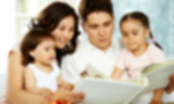 Young hispanic family learning together.