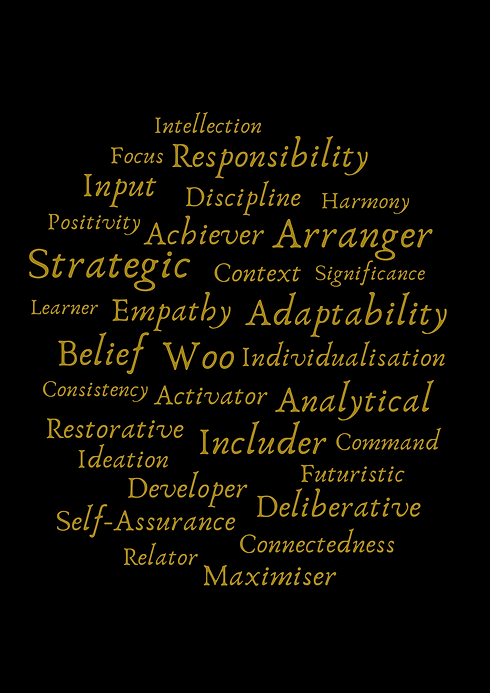 Strengths gold on black poster.png