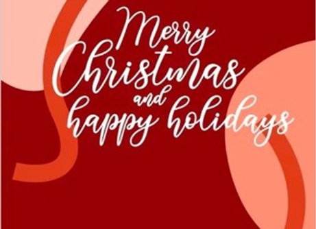 BCC - Christmas Cards - Merry Christmas and happy holidays (Assorted colours)