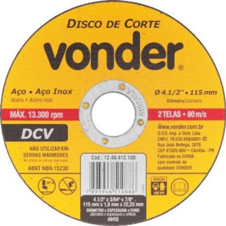 Disco de corte 115,0 mm x 1,0 mm x 22,23 mm, DCV VONDER