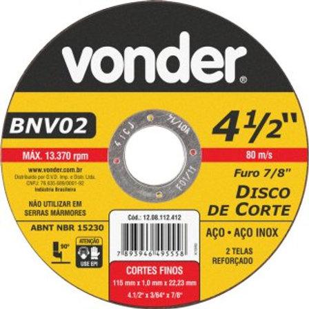 Disco de corte 115 mm x 1,0 mm x 22,23 mm, BNV 02, VONDER