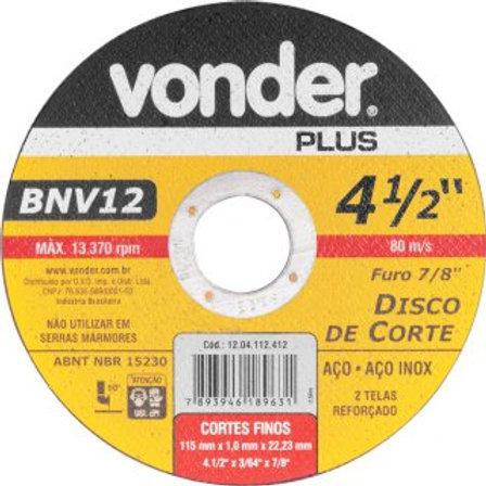 Disco de corte 115 mm x 1,0 mm x 22,23 mm BNV12 VONDER PLUS