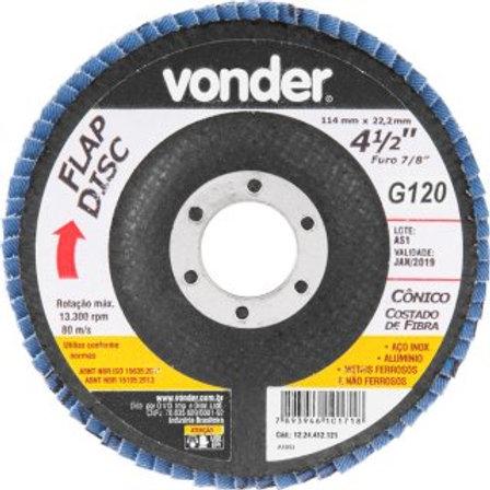 """Disco de desbaste/acabamento flap disc cônico 4.1/2"""" grão 120 costado de fibra"""