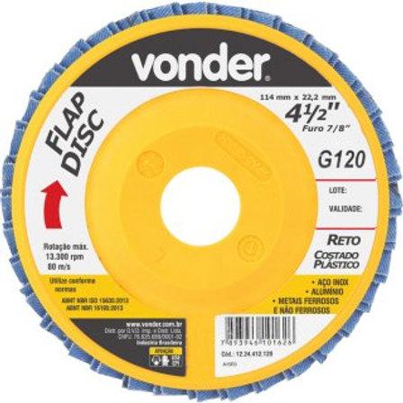 """Disco de desbaste/acabamento flap disc reto 4.1/2"""" grão 120 costado plástico"""