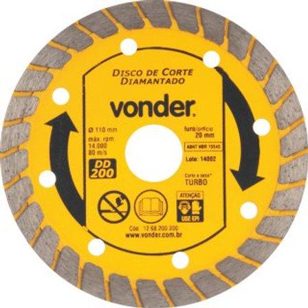 Disco de corte diamantado, 110 mm, turbo, DD 200, VONDER