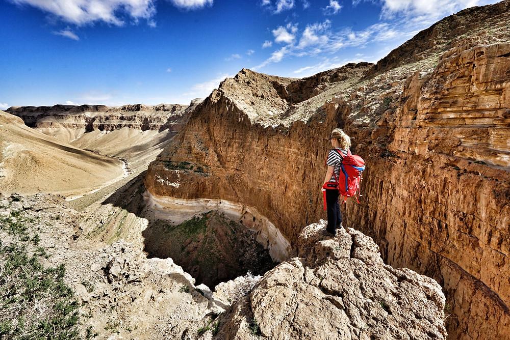 Die spektakuläre Sicht hinab zum Wadi Ze'elim