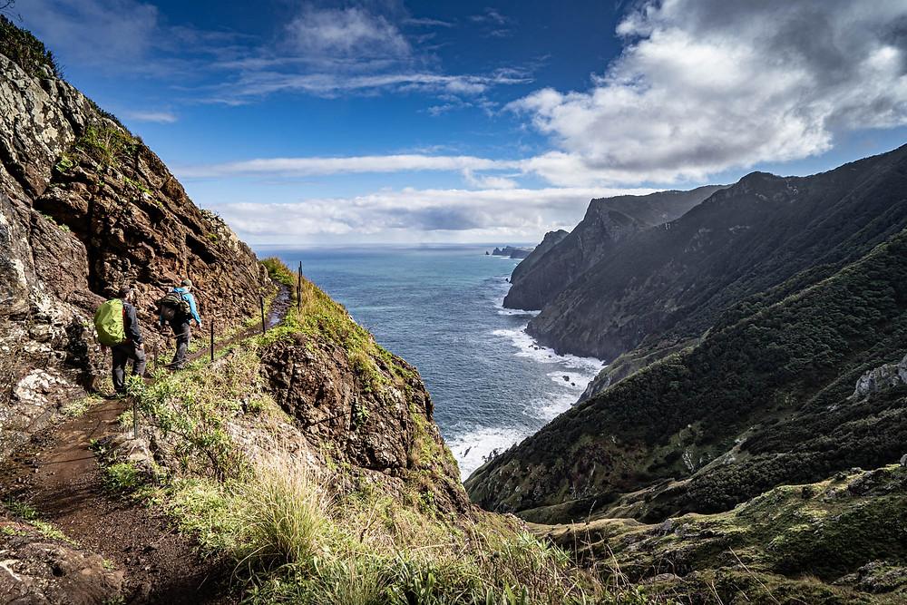 Hike along coastal cliffs through the Boca do Risco