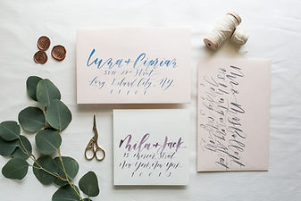 blue calligraphy wedding invites