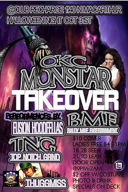 OKC Monstar event flyer takover club recharge