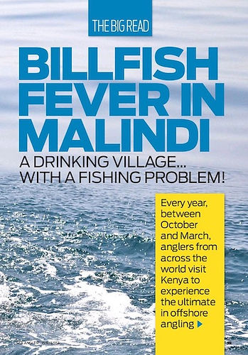 Sea Angler UK article cover; Billfish Fever in Malindi, A Drinking Village with a Fishing Problem! Back of boat sea view.