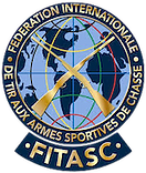 FITASC Sporting round navy global blue icon logo encircled by Fédération Internationale de Tir aux Armes Sportives de Chasse.