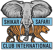 The Shikar Safari Club International logo, blue background for the print with an Elephant over a Tiger.