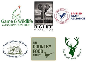 Supported wildlife conservation charity logos; game conservancy, big life, game alliance, country food trust, deer groups.