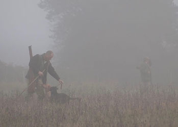 A shooting sportsman on a game shoot, picking-up with his dog in heavy thick fog / mist weather, about to cancel the day.