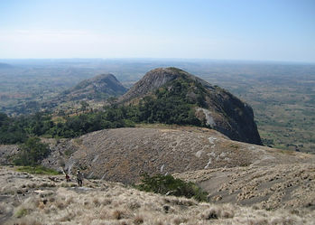 Mount Zembe in Manica Province of Mozambique with distant views across wide dry sustainable conservation hunting bushland.
