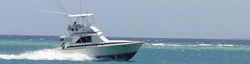 Kingfisher sea game fishing boat with outrigger, moving to bait fish area for tuna and sailfish.