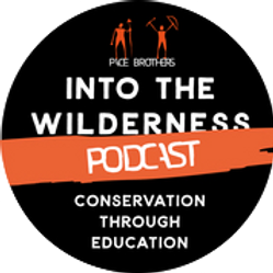 Into the Wilderness Podcast black round icon by Byron Pace Productions with orange banner & 'Conservation through Education'.