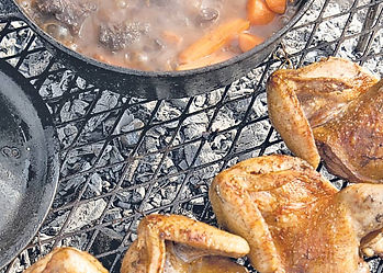 Harvested sandgrouse, speckled African rock pigeon & quail, freshly prepared & cooking on a safari campfire grill.