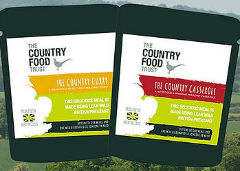 The Country Food Trust food pouch label displaying pheasant curry and venison casserole, nutritious game food for charity.