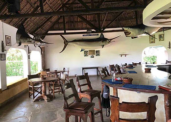 The new Malindi Sea Fishing Club from 2010, with grander marlin & shark on wall, above wooden bar, open arch window pillars.