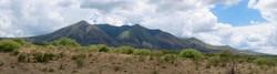 Distant green bushy mountain of Masailand, Tanzania, the broken Maasai thorn scrub foreground.